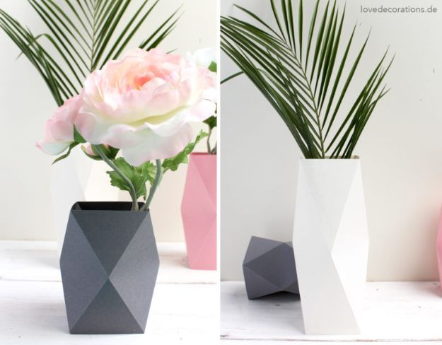 Paper Crafts DIY - DIY Origami Vase - Papercraft Tutorials and Easy Projects for Make for Decoration and Gift IDeas - Origami, Paper Flowers, Heart Decoration, Scrapbook Notions, Wall Art, Christmas Cards, Step by Step Tutorials for Crafts Made From Papers http://diyjoy.com/paper-crafts-diy