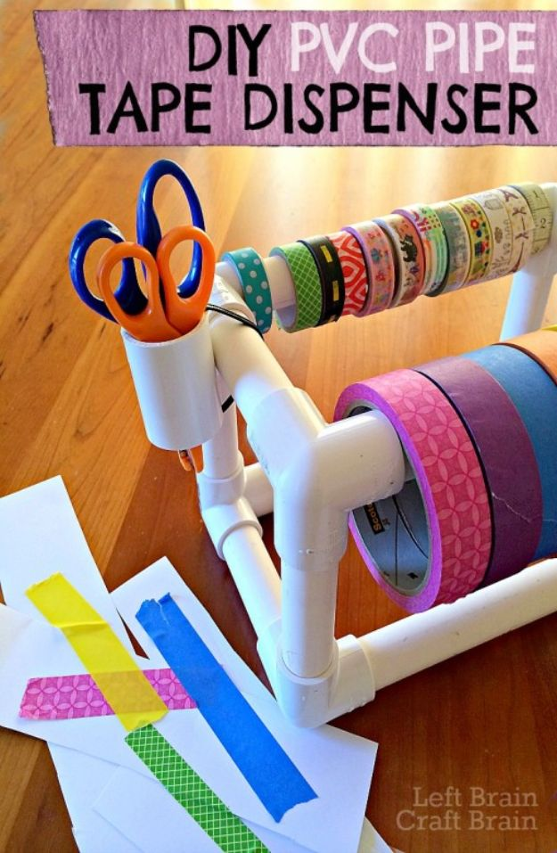 Organizing Ideas for Your Life - DIY PVC Pipe Tape Dispenser - Easy Crafts and Cool Ideas for Getting Organized - Best Ways to Get Organized - Things to Make for Being More Efficient and Productive - DIY Storage, Shelving, Calendars, Planning #organizing