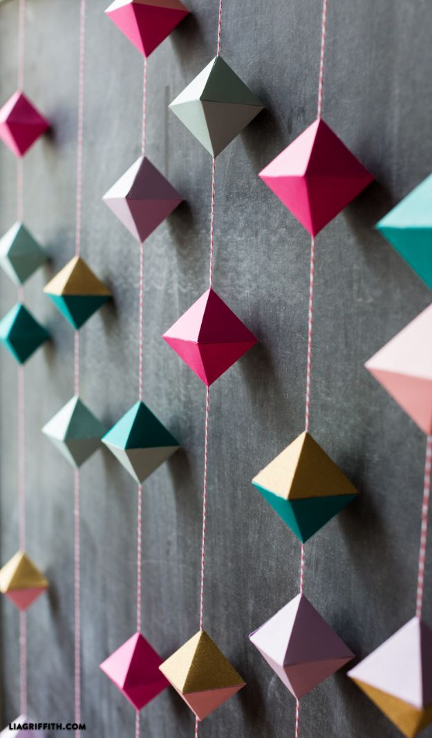 Paper Crafts DIY - DIY Paper Geode Garland - Papercraft Tutorials and Easy Projects for Make for Decoration and Gift IDeas - Origami, Paper Flowers, Heart Decoration, Scrapbook Notions, Wall Art, Christmas Cards, Step by Step Tutorials for Crafts Made From Papers #crafts