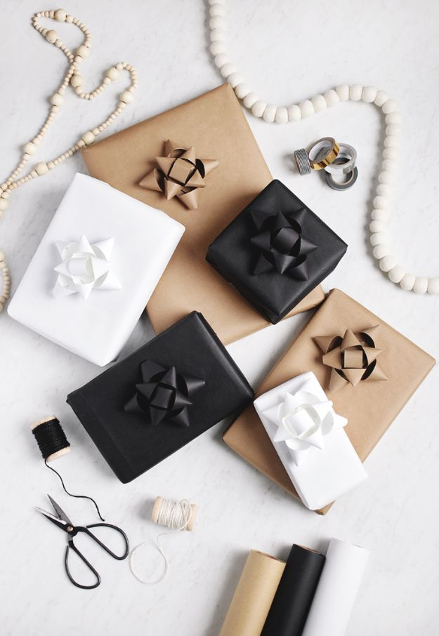 Paper Crafts DIY - DIY Paper Gift Bows - Papercraft Tutorials and Easy Projects for Make for Decoration and Gift IDeas - Origami, Paper Flowers, Heart Decoration, Scrapbook Notions, Wall Art, Christmas Cards, Step by Step Tutorials for Crafts Made From Papers  #crafts