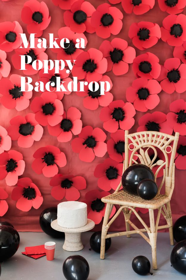 Paper Crafts DIY - DIY Paper Poppy Backdrop - Papercraft Tutorials and Easy Projects for Make for Decoration and Gift IDeas - Origami, Paper Flowers, Heart Decoration, Scrapbook Notions, Wall Art, Christmas Cards, Step by Step Tutorials for Crafts Made From Papers #crafts