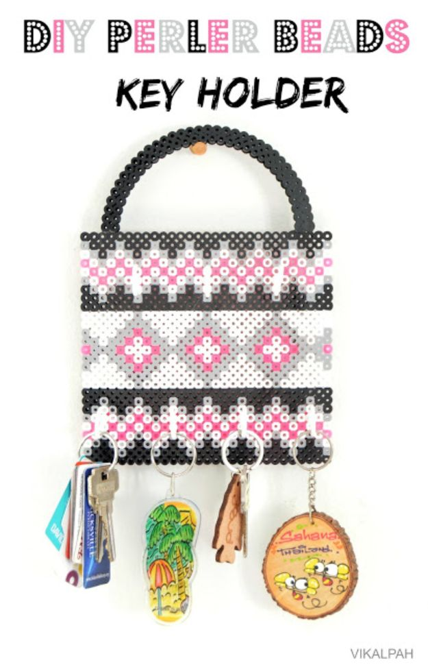 DIY perler bead crafts - DIY Perler Bead Key Holder - Easy Crafts With Perler Beads - Cute Accessories and Homemade Decor That Make Creative DIY Gifts - Plastic Melted Beads Make Cool Art for Walls, Jewelry and Things To Make When You are Bored #diy #crafts
