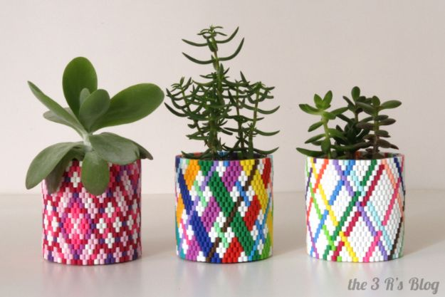 DIY perler bead crafts - PDIY Perler Bead Planter - Easy Crafts With Perler Beads - Cute Accessories and Homemade Decor That Make Creative DIY Gifts - Plastic Melted Beads Make Cool Art for Walls, Jewelry and Things To Make When You are Bored #diy #crafts