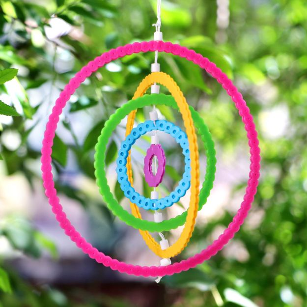 DIY perler bead crafts - DIY Perler Bead Rainbow Wind Spinners - Easy Crafts With Perler Beads - Cute Accessories and Homemade Decor That Make Creative DIY Gifts - Plastic Melted Beads Make Cool Art for Walls, Jewelry and Things To Make When You are Bored #diy #crafts