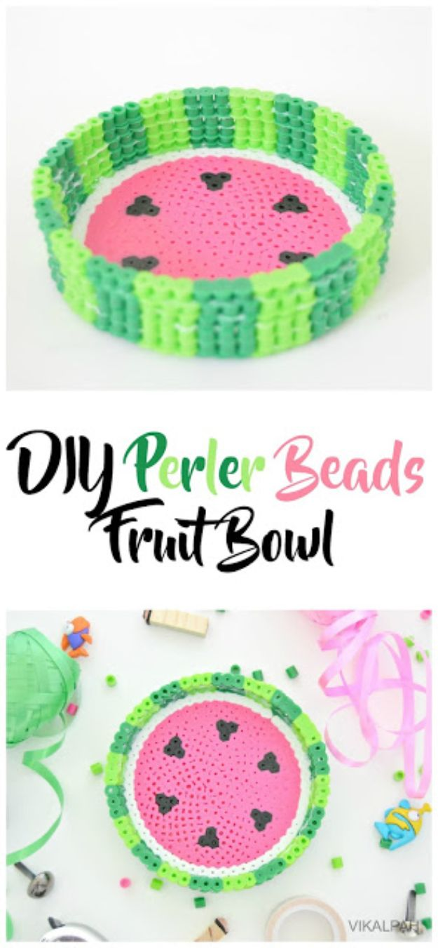 DIY perler bead crafts - DIY Perler Beads Fruit Bowl - Cute Accessories and Homemade Decor That Make Creative DIY Gifts - Plastic Melted Beads Make Cool Art for Walls, Jewelry and Things To Make When You are Bored #diy #crafts