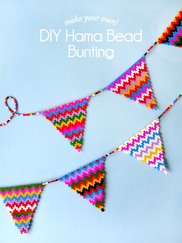 DIY perler bead crafts - DIY Perler Bunting - Easy Crafts With Perler Beads - Cute Accessories and Homemade Decor That Make Creative DIY Gifts - Plastic Melted Beads Make Cool Art for Walls, Jewelry and Things To Make When You are Bored #diy #crafts