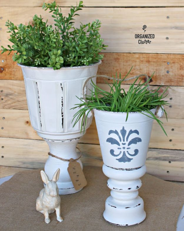 Thrift Store DIY Makeovers - DIY Planter Urns From A Thrift Shop - Decor and Furniture With Upcycling Projects and Tutorials - Room Decor Ideas on A Budget - Crafts and Decor to Make and Sell - Before and After Photos - Farmhouse, Outdoor, Bedroom, Kitchen, Living Room and Dining Room Furniture http://diyjoy.com/thrift-store-makeovers