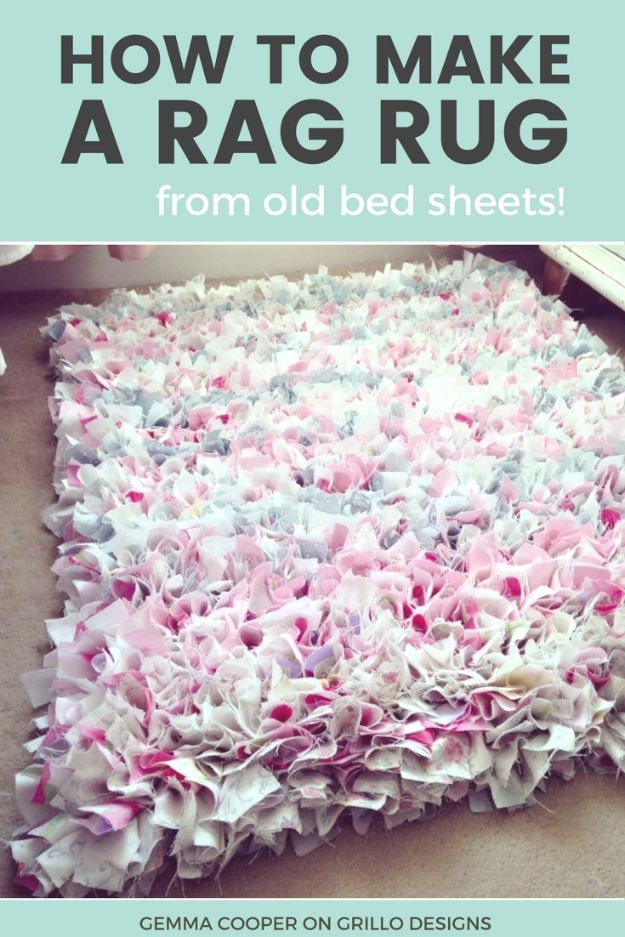 DIY Home Decor On A Budget - DIY Rag Rug - Cheap Home Decorations to Make From The Dollar Store and Dollar Tree - Inexpensive Budget Friendly Wall Art, Furniture, Table Accents, Rugs, Pillows, Bedding and Chairs - Candles, Crafts To Make for Your Bedroom, Pretty Signs and Art, Linens, Storage and Organizing Ideas for Apartments #diydecor #decoratingideas #cheaphomedecor