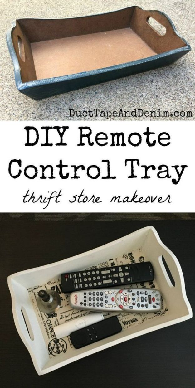 Thrift Store DIY Makeovers - DIY Remote Control Tray - Decor and Furniture With Upcycling Projects and Tutorials - Room Decor Ideas on A Budget - Crafts and Decor to Make and Sell - Before and After Photos - Farmhouse, Outdoor, Bedroom, Kitchen, Living Room and Dining Room Furniture http://diyjoy.com/thrift-store-makeovers