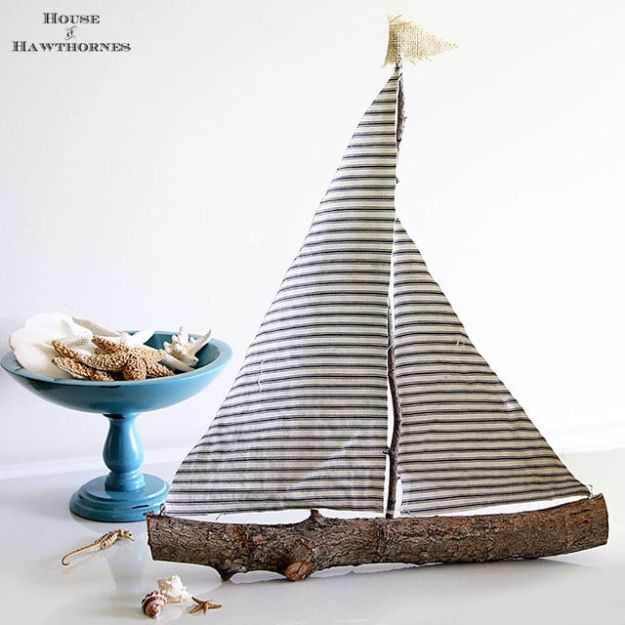 DIY Home Decor On A Budget - DIY Rustic Sailboat - Cheap Home Decorations to Make From The Dollar Store and Dollar Tree - Inexpensive Budget Friendly Wall Art, Furniture, Table Accents, Rugs, Pillows, Bedding and Chairs - Candles, Crafts To Make for Your Bedroom, Pretty Signs and Art, Linens, Storage and Organizing Ideas for Apartments #diydecor #decoratingideas #cheaphomedecor
