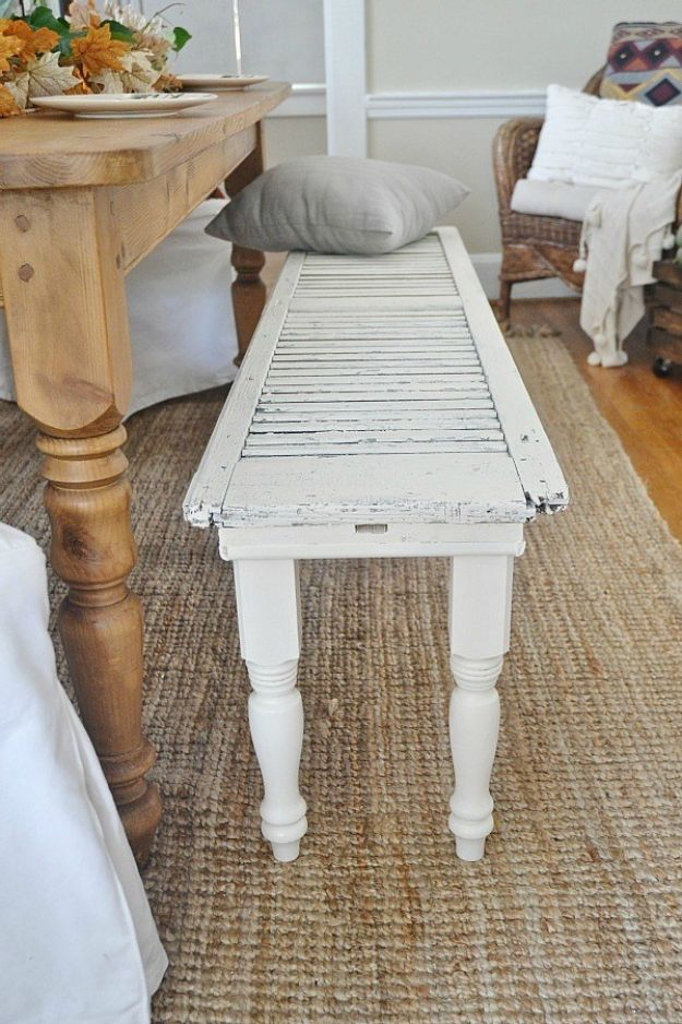 DIY Home Decor On A Budget - DIY Rustic Shutter Bench - Cheap Home Decorations to Make From The Dollar Store and Dollar Tree - Inexpensive Budget Friendly Wall Art, Furniture, Table Accents, Rugs, Pillows, Bedding and Chairs - Candles, Crafts To Make for Your Bedroom, Pretty Signs and Art, Linens, Storage and Organizing Ideas for Apartments #diydecor #decoratingideas #cheaphomedecor