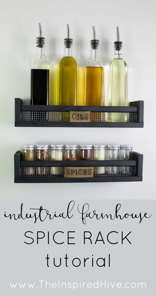 DIY Industrial Decor - DIY Rustic Wall Mounted Spice Rack - Industrail Shelves, Furniture, Table, Desk, Cart, Headboard, Chandelier, Bookcase - Easy Pipe Shelf Tutorial - Rustic Farmhouse Home Decor on A Budget - Lighting Ideas for Bedroom, Bathroom and Kitchen http://diyjoy.com/diy-industrial-decor