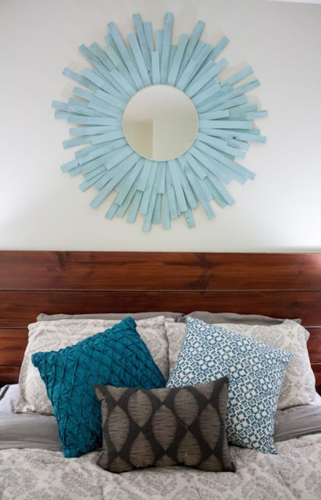 DIY Home Decor On A Budget - DIY Starburst Mirror - Cheap Home Decorations to Make From The Dollar Store and Dollar Tree - Inexpensive Budget Friendly Wall Art, Furniture, Table Accents, Rugs, Pillows, Bedding and Chairs - Candles, Crafts To Make for Your Bedroom, Pretty Signs and Art, Linens, Storage and Organizing Ideas for Apartments http://diyjoy.com/cheap-diy-home-decor