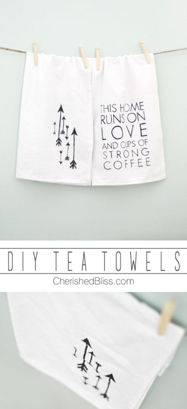 Cheap DIY Gift Ideas - DIY Tea Towels - List of Handmade Gifts on A Budget and Inexpensive Christmas Presents - Do It Yourself Gift Idea for Family and Friends, Mom and Dad, For Guys and Women, Boyfriend, Girlfriend, BFF, Kids and Teens - Dollar Store and Dollar Tree Crafts, Home Decor, Room Accessories and Fun Things to Make At Home http://diyjoy.com/cheap-diy-gift-ideas