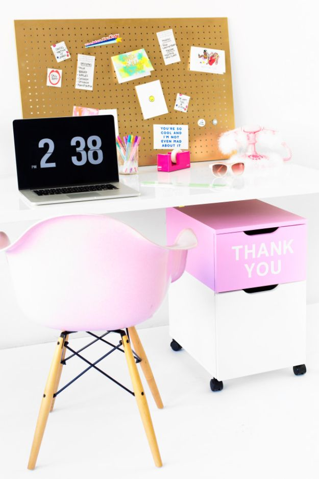 DIY Office Furniture - DIY Thank You Filing Cabinet - Do It Yourself Home Office Furniture Ideas - Desk Projects, Thrift Store Makeovers, Chairs, Office File Cabinets and Organization - Shelving, Bulletin Boards, Wall Art for Offices and Creative Work Spaces in Your House - Tables, Armchairs, Desk Accessories and Easy Desks To Make On A Budget #diyoffice #diyfurniture #diy #diyhomedecor #diyideas http://diyjoy.com/diy-office-furniture