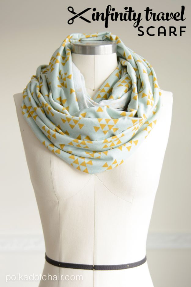 Cheap DIY Gift Ideas - DIY Travel Infinity Scarf - List of Handmade Gifts on A Budget and Inexpensive Christmas Presents - Do It Yourself Gift Idea for Family and Friends, Mom and Dad, For Guys and Women, Boyfriend, Girlfriend, BFF, Kids and Teens - Dollar Store and Dollar Tree Crafts, Home Decor, Room Accessories and Fun Things to Make At Home #diygifts #christmas #giftideas #diy