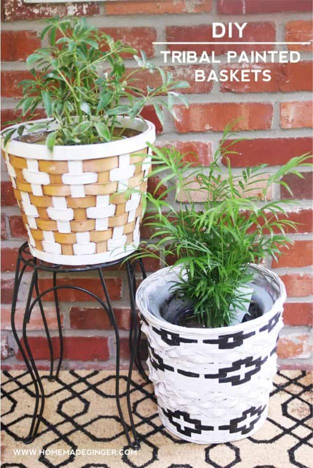 Thrift Store DIY Makeovers - DIY Tribal Painted Baskets - Decor and Furniture With Upcycling Projects and Tutorials - Room Decor Ideas on A Budget - Crafts and Decor to Make and Sell - Before and After Photos - Farmhouse, Outdoor, Bedroom, Kitchen, Living Room and Dining Room Furniture http://diyjoy.com/thrift-store-makeovers
