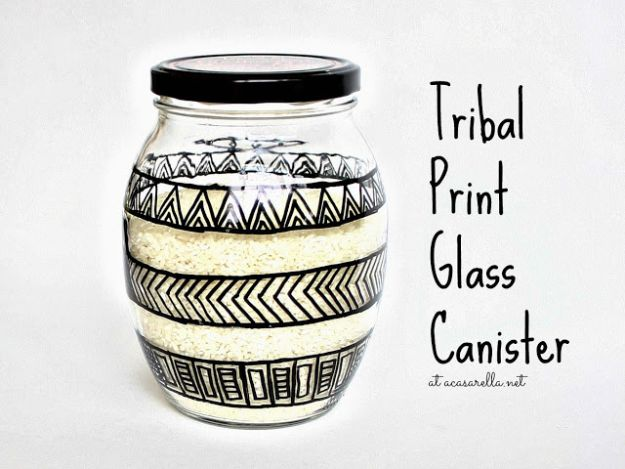 Cheap DIY Gift Ideas - DIY Tribal Print Glass Canister - List of Handmade Gifts on A Budget and Inexpensive Christmas Presents - Do It Yourself Gift Idea for Family and Friends, Mom and Dad, For Guys and Women, Boyfriend, Girlfriend, BFF, Kids and Teens - Dollar Store and Dollar Tree Crafts, Home Decor, Room Accessories and Fun Things to Make At Home http://diyjoy.com/cheap-diy-gift-ideas