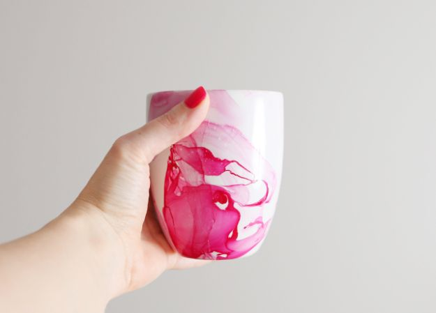 Cheap DIY Gift Ideas - DIY Watercolor Mug - List of Handmade Gifts on A Budget and Inexpensive Christmas Presents - Do It Yourself Gift Idea for Family and Friends, Mom and Dad, For Guys and Women, Boyfriend, Girlfriend, BFF, Kids and Teens - Dollar Store and Dollar Tree Crafts, Home Decor, Room Accessories and Fun Things to Make At Home http://diyjoy.com/cheap-diy-gift-ideas