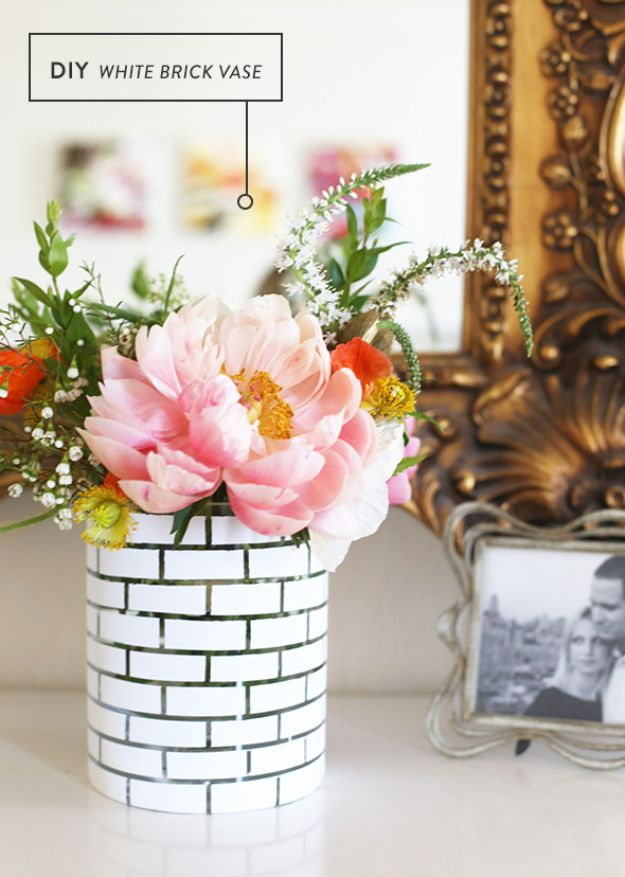 DIY Home Decor On A Budget - DIY White Brick Vase - Cheap Home Decorations to Make From The Dollar Store and Dollar Tree - Inexpensive Budget Friendly Wall Art, Furniture, Table Accents, Rugs, Pillows, Bedding and Chairs - Candles, Crafts To Make for Your Bedroom, Pretty Signs and Art, Linens, Storage and Organizing Ideas for Apartments #diydecor #decoratingideas #cheaphomedecor