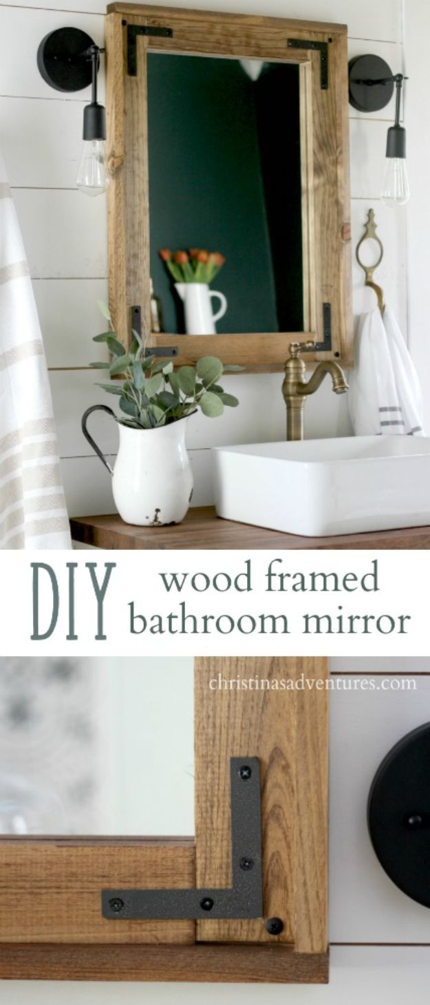 DIY Industrial Decor - DIY Wood Framed Bathroom Mirror - Industrail Shelves, Furniture, Table, Desk, Cart, Headboard, Chandelier, Bookcase - Easy Pipe Shelf Tutorial - Rustic Farmhouse Home Decor on A Budget - Lighting Ideas for Bedroom, Bathroom and Kitchen http://diyjoy.com/diy-industrial-decor