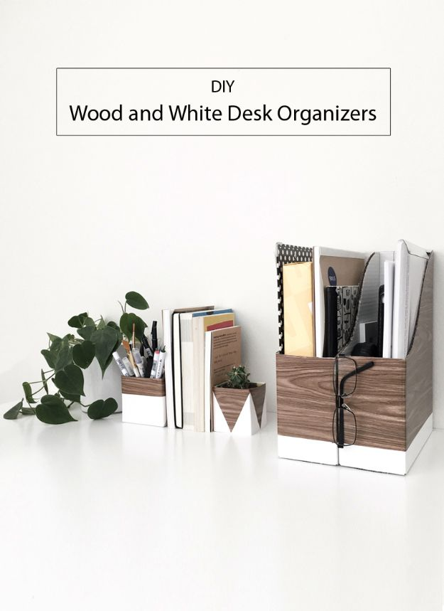 DIY Office Furniture - DIY Wood and White Desk Organizers - Do It Yourself Home Office Furniture Ideas - Desk Projects, Thrift Store Makeovers, Chairs, Office File Cabinets and Organization - Shelving, Bulletin Boards, Wall Art for Offices and Creative Work Spaces in Your House - Tables, Armchairs, Desk Accessories and Easy Desks To Make On A Budget #diyoffice #diyfurniture #diy #diyhomedecor #diyideas http://diyjoy.com/diy-office-furniture
