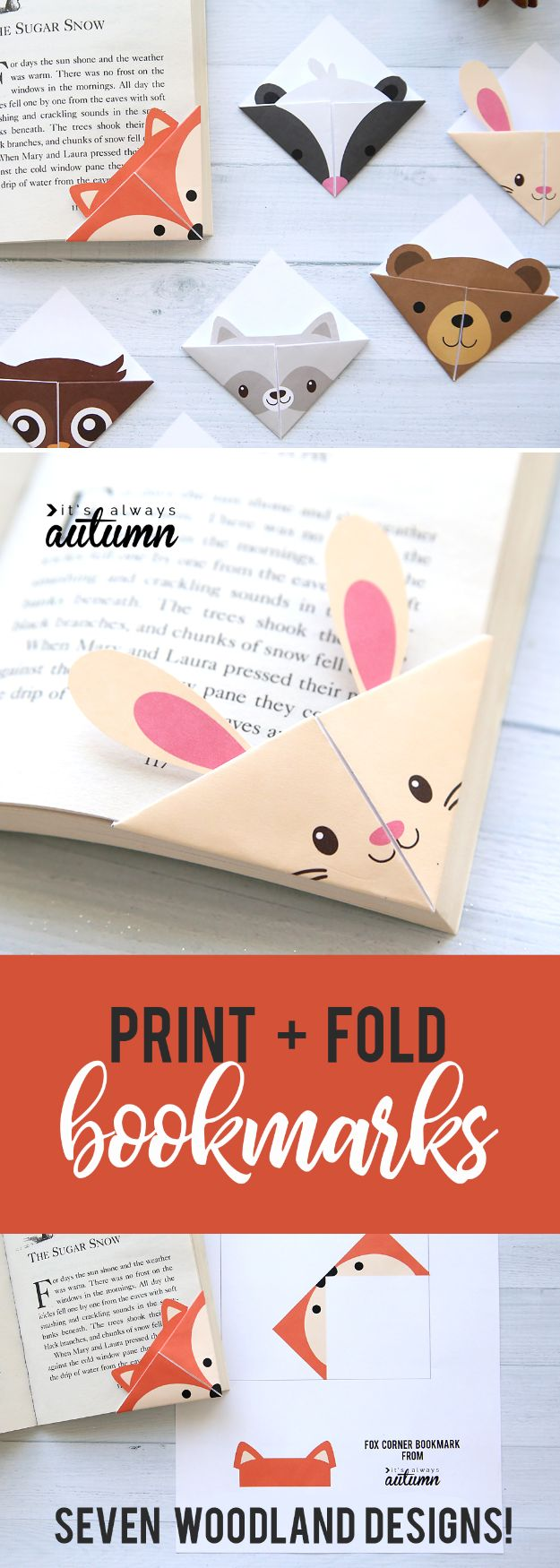 Paper Crafts DIY - DIY Woodland Animals Origami Bookmarks - Papercraft Tutorials and Easy Projects for Make for Decoration and Gift IDeas - Origami, Paper Flowers, Heart Decoration, Scrapbook Notions, Wall Art, Christmas Cards, Step by Step Tutorials for Crafts Made From Papers http://diyjoy.com/paper-crafts-diy