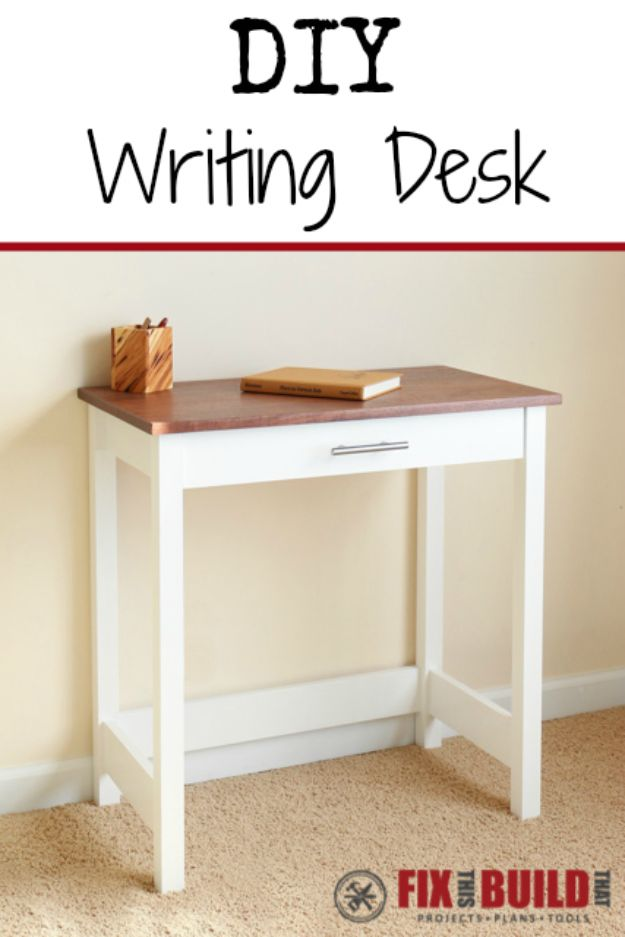 DIY Office Furniture - DIY Writing Desk - Do It Yourself Home Office Furniture Ideas - Desk Projects, Thrift Store Makeovers, Chairs, Office File Cabinets and Organization - Shelving, Bulletin Boards, Wall Art for Offices and Creative Work Spaces in Your House - Tables, Armchairs, Desk Accessories and Easy Desks To Make On A Budget #diyoffice #diyfurniture #diy #diyhomedecor #diyideas http://diyjoy.com/diy-office-furniture