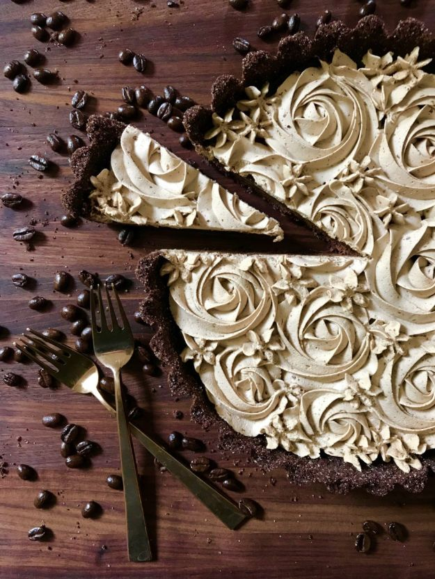 Chocolate Desserts and Recipe Ideas - Dark Chocolate Tart with Espresso Whipped Cream - Easy Chocolate Recipes With Mint, Peanut Butter and Caramel - Quick No Bake Dessert Idea, Healthy Desserts, Cake, Brownies, Pie and Mousse - Best Fancy Chocolates to Serve for Two
