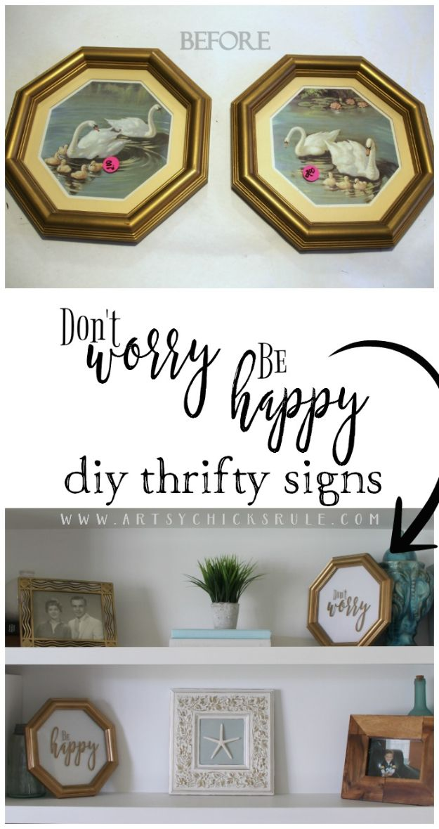 Thrift Store DIY Makeovers - Don't Worry Be Happy Signs - Decor and Furniture With Upcycling Projects and Tutorials - Room Decor Ideas on A Budget - Crafts and Decor to Make and Sell - Before and After Photos - Farmhouse, Outdoor, Bedroom, Kitchen, Living Room and Dining Room Furniture http://diyjoy.com/thrift-store-makeovers