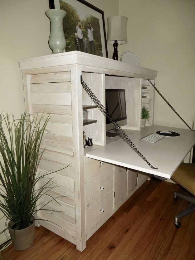 DIY Office Furniture - Drop Down Hutch Desk - Do It Yourself Home Office Furniture Ideas - Desk Projects, Thrift Store Makeovers, Chairs, Office File Cabinets and Organization - Shelving, Bulletin Boards, Wall Art for Offices and Creative Work Spaces in Your House - Tables, Armchairs, Desk Accessories and Easy Desks To Make On A Budget #diyoffice #diyfurniture #diy #diyhomedecor #diyideas