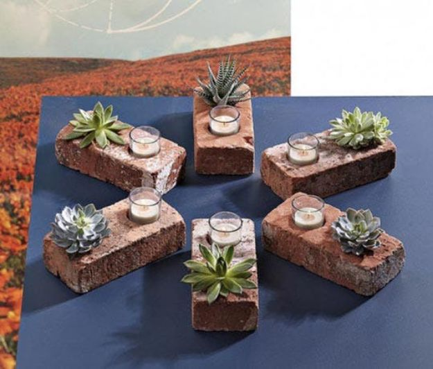 DIY Ideas With Bricks - Easy Brick Succulent Planters - Home Decor and Creative Do It Yourself Projects to Make With Bricks - Ideas for Patio, Walkway, Fireplace, Firepit, Mantle, Grill and Art - Inexpensive Decoration Tutorials With Step By Step Instruction for Brick DIY #diy #homeimprovement