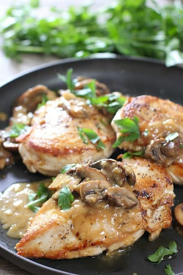 Easy Healthy Chicken Recipes - Easy Chicken Breast with Mushroom Pan Sauce - Lunch and Dinner Ideas, Party Foods and Casseroles, Idea for the Grill and Salads- Chicken Breast, Baked, Roastedf and Grilled Chicken - Add Shrimp, Penne Pasta, Beef, Sausage - Glazed, Barbecue and Instant Pot, Crockpot Chicken Dishes and Recipe Ideas http://diyjoy.com/easy-healthy-chicken-recipes