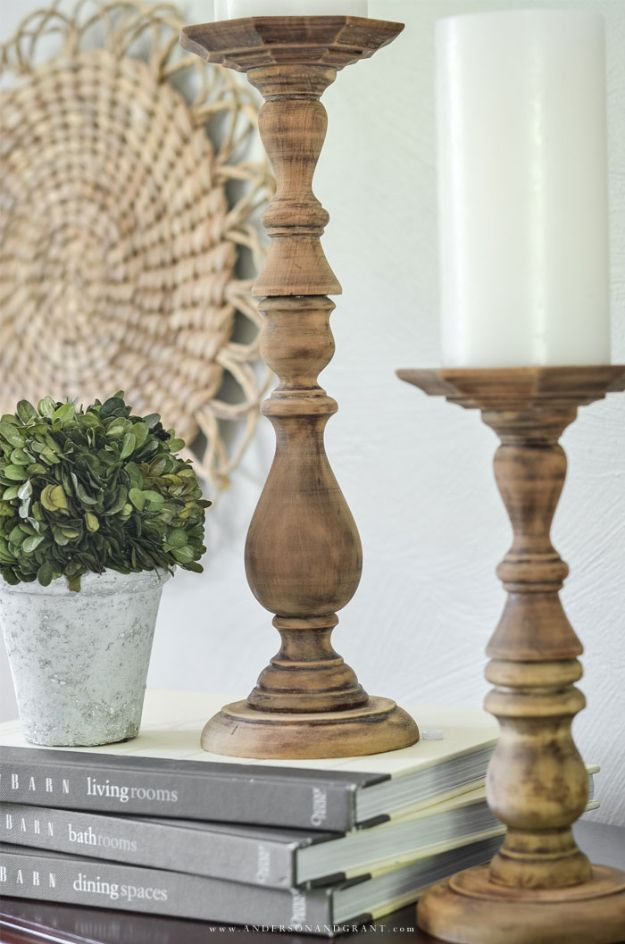 Thrift Store DIY Makeovers - Easy DIY Rustic Candlesticks - Decor and Furniture With Upcycling Projects and Tutorials - Room Decor Ideas on A Budget - Crafts and Decor to Make and Sell - Before and After Photos - Farmhouse, Outdoor, Bedroom, Kitchen, Living Room and Dining Room Furniture http://diyjoy.com/thrift-store-makeovers