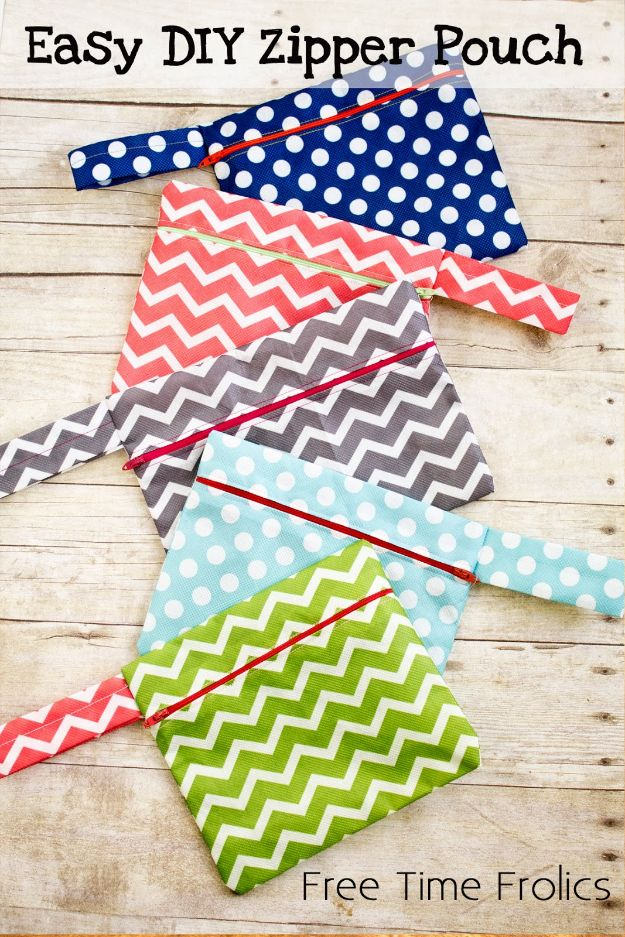 Cheap DIY Gift Ideas - Easy DIY Zipper Pouch - List of Handmade Gifts on A Budget and Inexpensive Christmas Presents - Do It Yourself Gift Idea for Family and Friends, Mom and Dad, For Guys and Women, Boyfriend, Girlfriend, BFF, Kids and Teens - Dollar Store and Dollar Tree Crafts, Home Decor, Room Accessories and Fun Things to Make At Home http://diyjoy.com/cheap-diy-gift-ideas