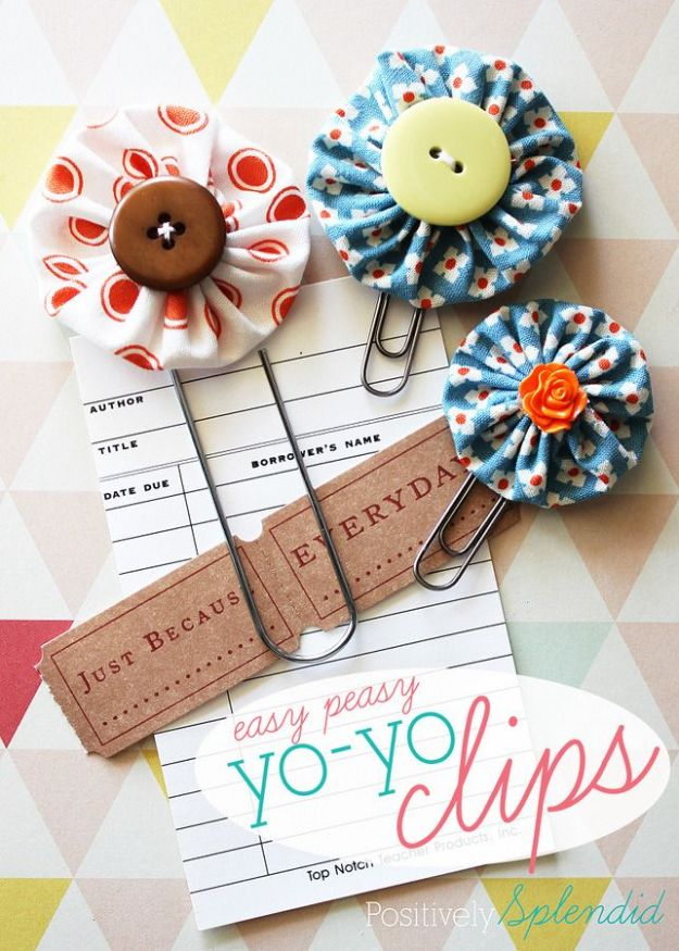Cheap DIY Gift Ideas - Easy Peasy Yo-Yo Clips - List of Handmade Gifts on A Budget and Inexpensive Christmas Presents - Do It Yourself Gift Idea for Family and Friends, Mom and Dad, For Guys and Women, Boyfriend, Girlfriend, BFF, Kids and Teens - Dollar Store and Dollar Tree Crafts, Home Decor, Room Accessories and Fun Things to Make At Home http://diyjoy.com/cheap-diy-gift-ideas