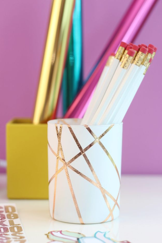 Cheap DIY Gift Ideas - Easy Rose Gold Foiled Pencil Cup - List of Handmade Gifts on A Budget and Inexpensive Christmas Presents - Do It Yourself Gift Idea for Family and Friends, Mom and Dad, For Guys and Women, Boyfriend, Girlfriend, BFF, Kids and Teens - Dollar Store and Dollar Tree Crafts, Home Decor, Room Accessories and Fun Things to Make At Home http://diyjoy.com/cheap-diy-gift-ideas