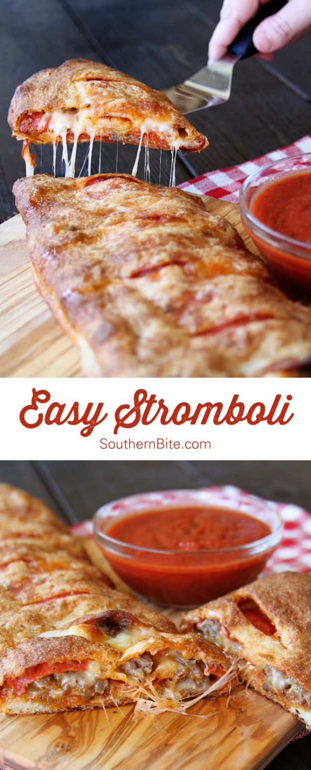 Best Italian Recipes - Easy Stromboli- Authentic and Traditional italian dishes For Dinner, Appetizers, and Easy Lunch - Pasta with Chicken, Lasagna, Noodles With Cheese, Healthy Recipe Ideas - Party Trays and Food For A Crowd - Fettucini, Spaghetti, Alfredo Sauce, Meatballs, Grilled Steak and Fish, Soup, Seafood, Vegetarian and Crockpot Versions #italian #italianfood #recipes #italianrecipes http://diyjoy.com/best-italian-recipes