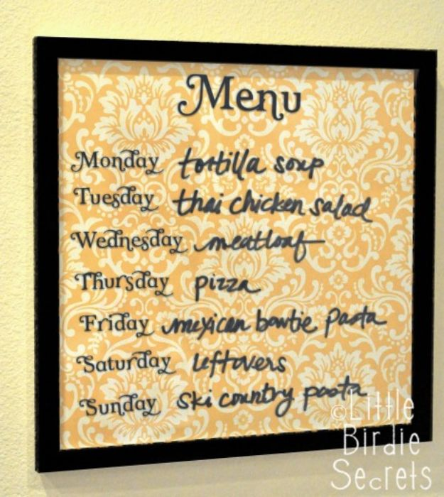 Cheap DIY Gift Ideas - Easy Wipe Off Weekly Menu Board - List of Handmade Gifts on A Budget and Inexpensive Christmas Presents - Do It Yourself Gift Idea for Family and Friends, Mom and Dad, For Guys and Women, Boyfriend, Girlfriend, BFF, Kids and Teens - Dollar Store and Dollar Tree Crafts, Home Decor, Room Accessories and Fun Things to Make At Home http://diyjoy.com/cheap-diy-gift-ideas