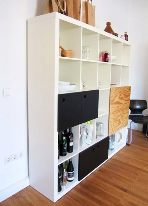 IKEA Hacks for Your Kitchen - Expedit Kitchen Storage - DIY Furniture and Kitchen Accessories Made from IKEA - Kitchen Islands, Cabinets, Table, Pantry Organization, Storage, Shelves and Counter Solutions - Bar, Buffet and Entertaining Ideas - Easy Projects With Step by Step Tutorials and Instructions to Hack IKEA items #ikea #ikeahacks #diyhomedecor #diyideas #diykitchen
