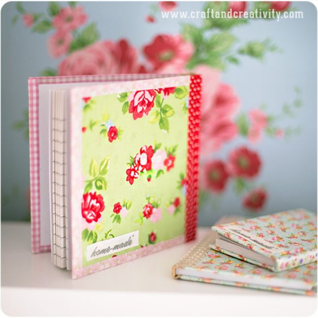 Cheap DIY Gift Ideas - Fabric Covered Notebooks - List of Handmade Gifts on A Budget and Inexpensive Christmas Presents - Do It Yourself Gift Idea for Family and Friends, Mom and Dad, For Guys and Women, Boyfriend, Girlfriend, BFF, Kids and Teens - Dollar Store and Dollar Tree Crafts, Home Decor, Room Accessories and Fun Things to Make At Home http://diyjoy.com/cheap-diy-gift-ideas