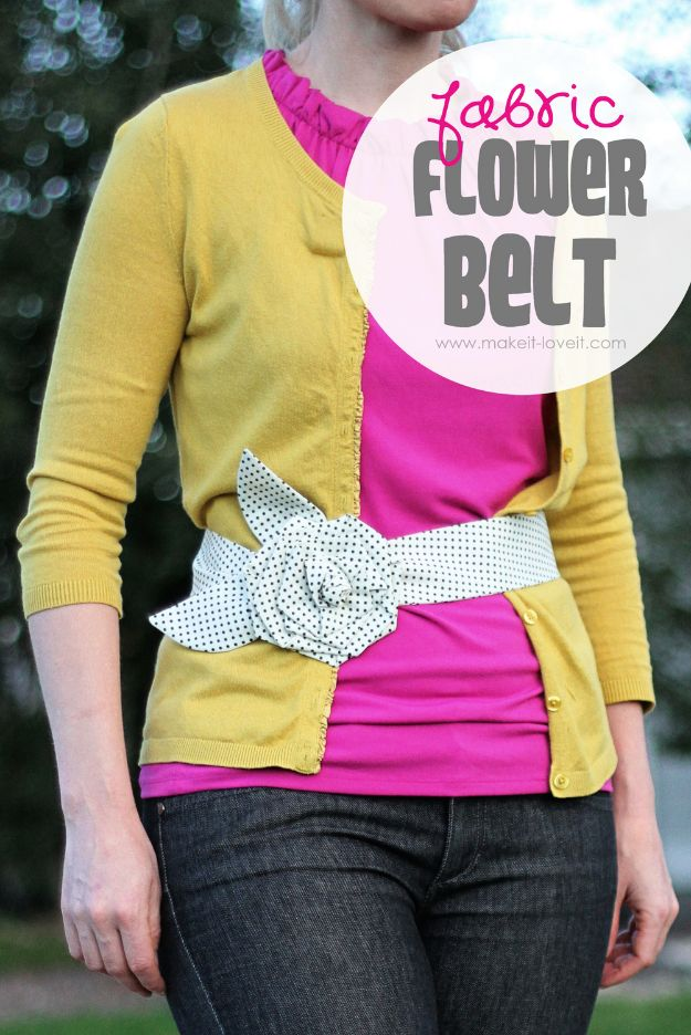 Cheap DIY Gift Ideas - Fabric Flower Belt - List of Handmade Gifts on A Budget and Inexpensive Christmas Presents - Do It Yourself Gift Idea for Family and Friends, Mom and Dad, For Guys and Women, Boyfriend, Girlfriend, BFF, Kids and Teens - Dollar Store and Dollar Tree Crafts, Home Decor, Room Accessories and Fun Things to Make At Home #diygifts #christmas #giftideas #diy