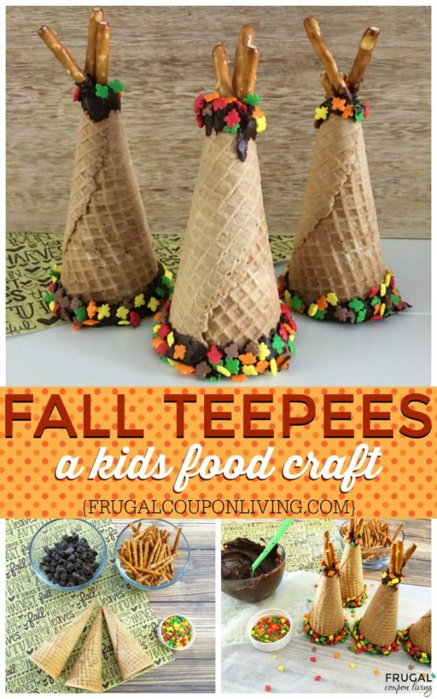 Fun Fall Crafts for Kids - Fall Ice Cream Cone Teepees - Cool Crafts Ideas for Kids to Make With Paper, Glue, Leaves, Corn Husk, Pumpkin and Glitter - Halloween and Thanksgiving - Children Love Making Art, Paintings, Cards and Fall Decor - Placemats, Place Cards, Wall Art , Party Food and Decorations for Toddlers, Boys and Girls http://diyjoy.com/fun-fall-crafts-kids
