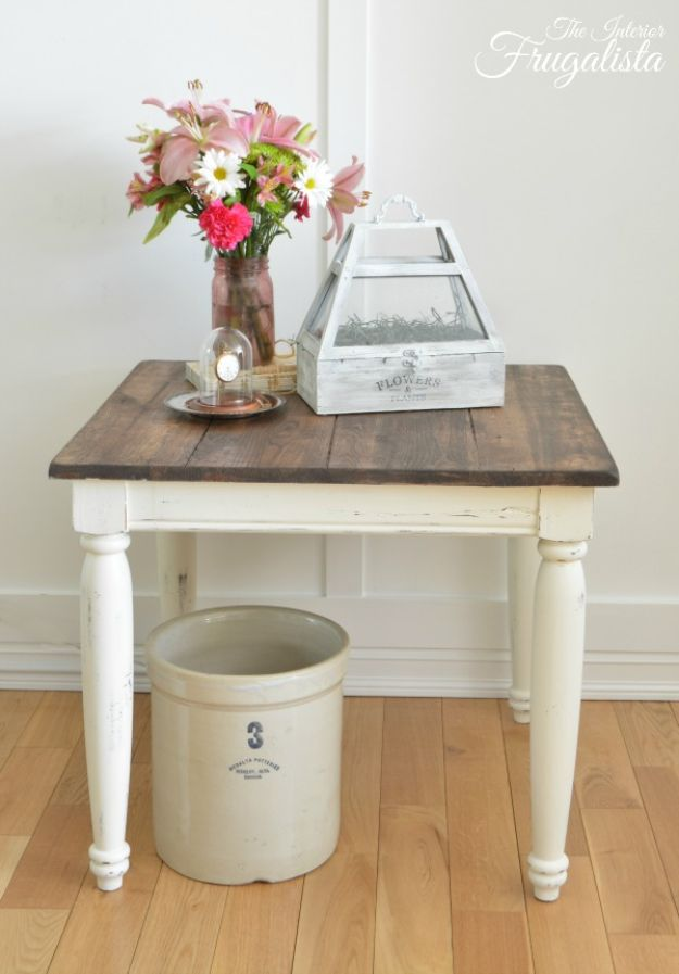 Thrift Store DIY Makeovers - Farmhouse Side Table Makeover - Decor and Furniture With Upcycling Projects and Tutorials - Room Decor Ideas on A Budget - Crafts and Decor to Make and Sell - Before and After Photos - Farmhouse, Outdoor, Bedroom, Kitchen, Living Room and Dining Room Furniture http://diyjoy.com/thrift-store-makeovers