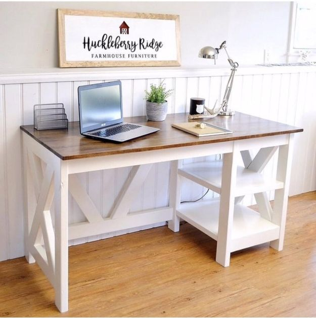 DIY Office Furniture - Farmhouse X Office Desk - Do It Yourself Home Office Furniture Ideas - Desk Projects, Thrift Store Makeovers, Chairs, Office File Cabinets and Organization - Shelving, Bulletin Boards, Wall Art for Offices and Creative Work Spaces in Your House - Tables, Armchairs, Desk Accessories and Easy Desks To Make On A Budget #diyoffice #diyfurniture #diy #diyhomedecor #diyideas