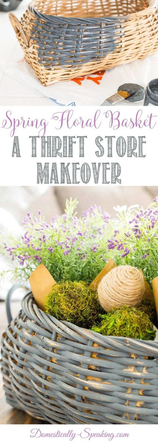 Thrift Store DIY Makeovers - Floral Basket Thrift Store Makeover - Decor and Furniture With Upcycling Projects and Tutorials - Room Decor Ideas on A Budget - Crafts and Decor to Make and Sell - Before and After Photos - Farmhouse, Outdoor, Bedroom, Kitchen, Living Room and Dining Room Furniture http://diyjoy.com/thrift-store-makeovers
