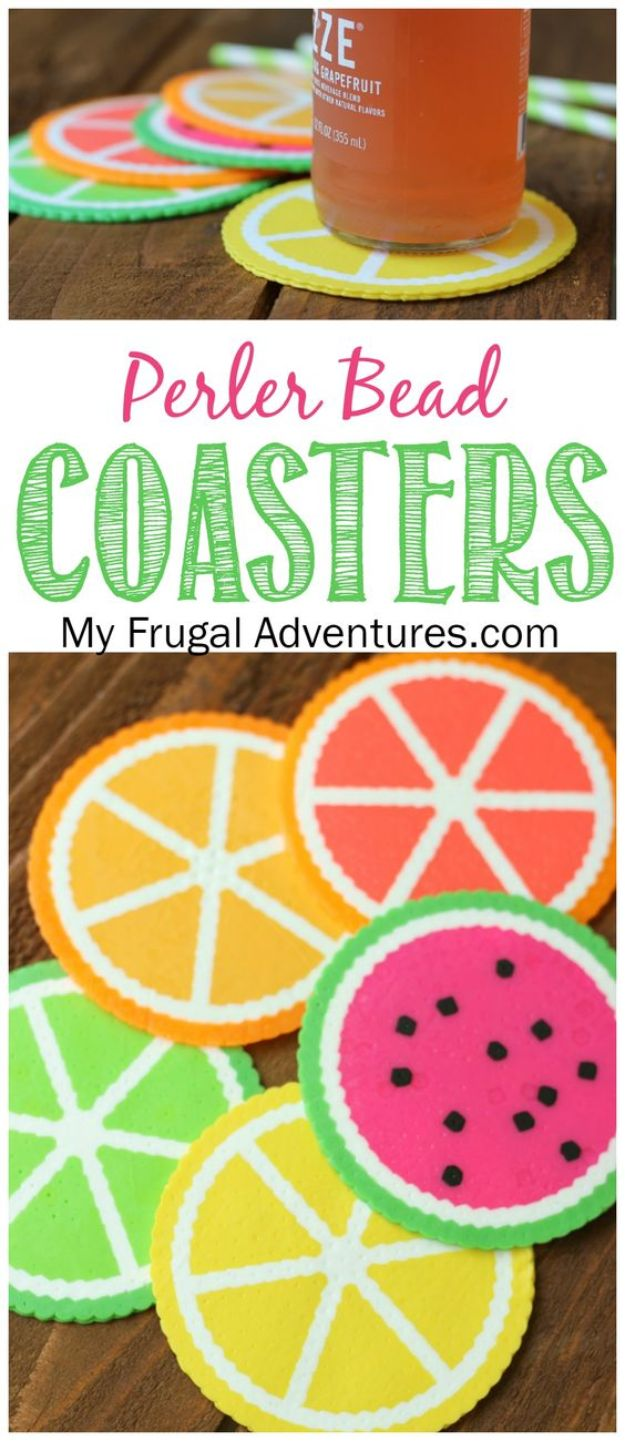 DIY perler bead crafts - Fruit Perler Beads Coaster - Cute Accessories and Homemade Decor That Make Creative DIY Gifts - Plastic Melted Beads Make Cool Art for Walls, Jewelry and Things To Make When You are Bored #diy #crafts
