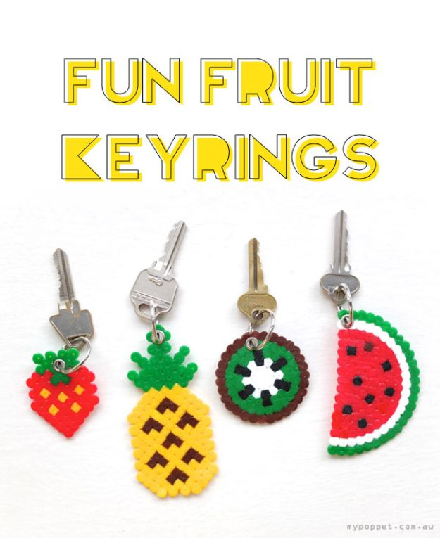 DIY perler bead crafts - Fun Fruit Keyrings - Cute Accessories and Homemade Decor That Make Creative DIY Gifts - Plastic Melted Beads Make Cool Art for Walls, Jewelry and Things To Make When You are Bored #diy #crafts