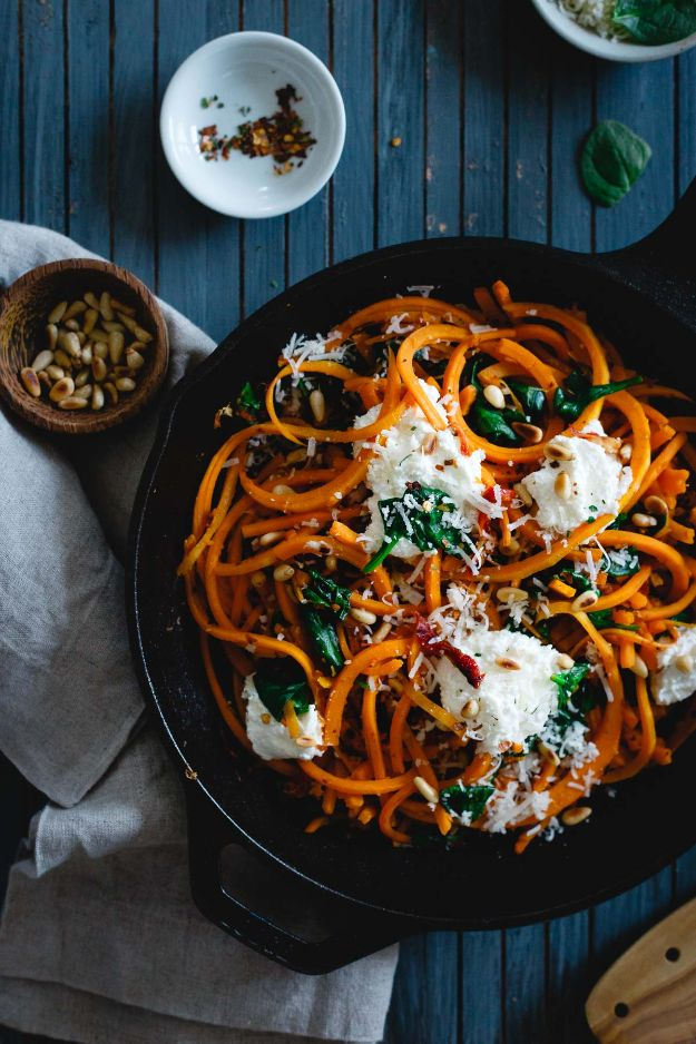 Veggie Noodle Recipes - Garlicky Butternut Squash Noodles With Spinach and Ricotta - How to Cook With Veggie Noodles - Healthy Pasta Recipe Ideas - How to Make Veggie Noodles With Carrots and Zucchini - Vegan, Vegetarian , Keto and Low Carb Dishes for Your Diet - Meatballs, Chicken, Cheese, Asian Stir Fry, Salad and Raw Preparations #veggienoodles #recipes #keto #lowcarb #ketorecipes http://diyjoy.com/veggie-noodle-recipes