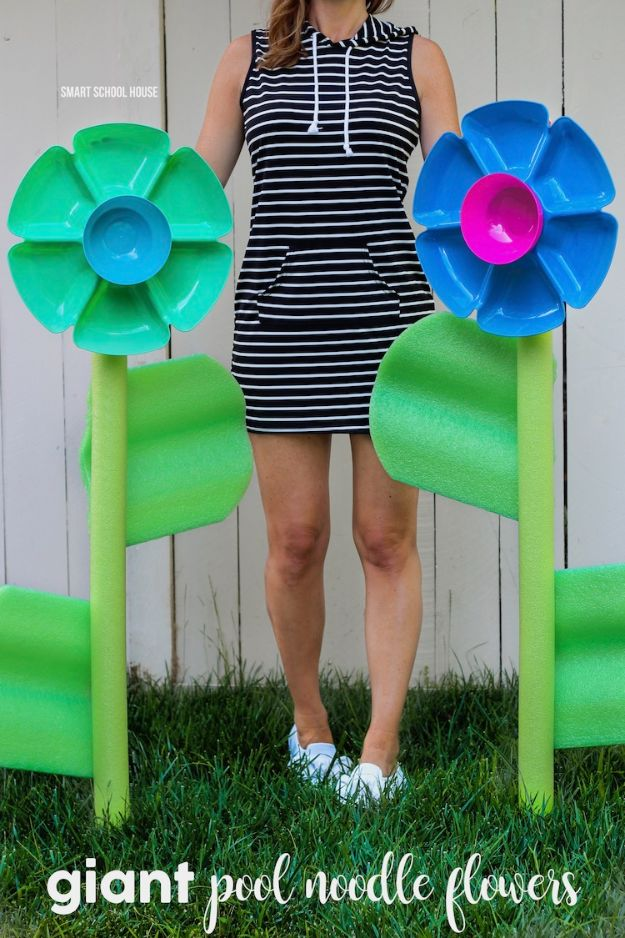 Dollar Tree Crafts - Giant Pool Noodle Flowers - DIY Ideas and Crafts Projects From Dollar Tree Stores - Easy Organizing Project Tutorials and Home Decorations- Cheap Crafts to Make and Sell #dollarstore #dollartree #dollarstorecrafts #cheapcrafts #crafts #diy #diyideas